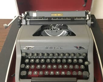 Vintage Portable Royal Typewriter with Carrying Case Gray