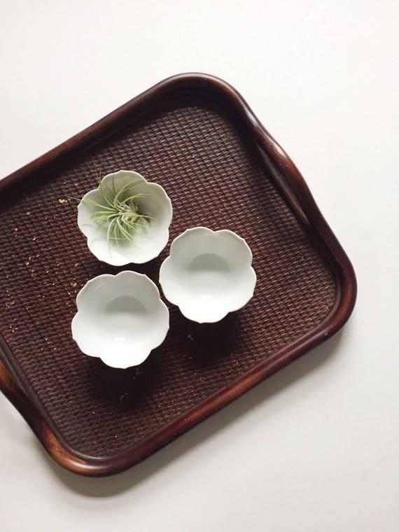 trio of small nesting white lotus flower bowls // stacking // set of 3