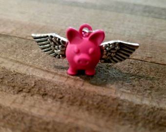 Pig Charm Flying Pig Charm Pig with Wings When Pigs Fly Animal Charm Pig Pendant Pink Pig Charm