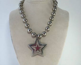Star Necklace, Rhinestone Star Pendant, Choker, Chunky, Silver-tone Ball Chain, Bold, Unique Gift for Teen