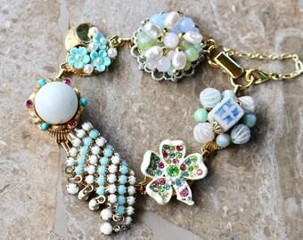 Vintage Earring Bracelet, Bridesmaid Gift, Baby Blue, Pink, Pastel, Gold, Milk Glass, White, Boho, Edgy, gift for her, Jennifer Jones OOAK