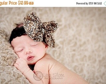 12% off Leopard print bow, rhinestone bow, leopard headband, Newborn baby bow, Baby headband, newborn headband, adult headband, photography