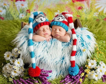 Thing 1 or Thing 2 Hat,  Thing 3 or Thing 4 Hat, Dr. Suess, Newborn Photo Prop, Halloween Costume for Baby,  Pom Pom Hat, Red Striped Hat