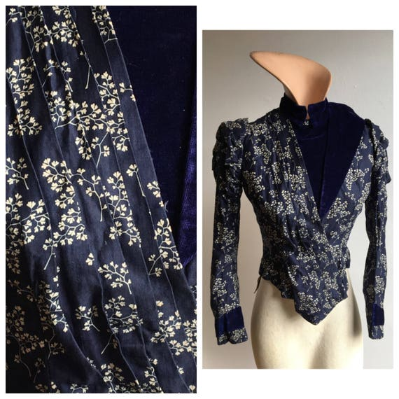 Victorian Blue Sprig Print and Velvet Jacket, XS