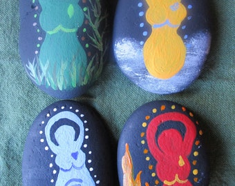 Elemental Goddesses painted ocean stones