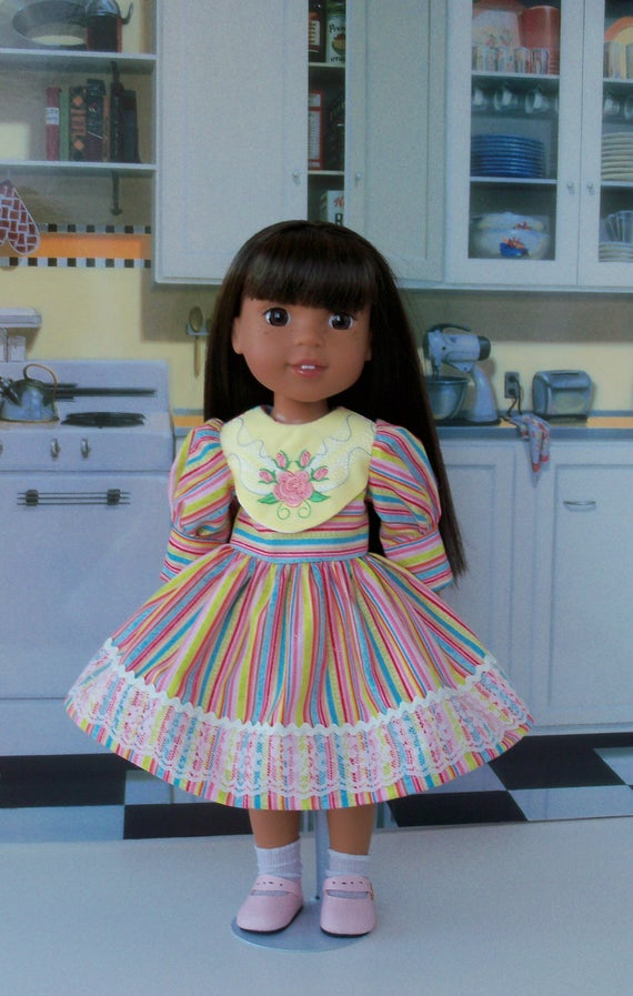 "14"" Size/  Little Sister Embroidered Dress and Shoes for American Girl Doll 14"" Wellie Wishers®"