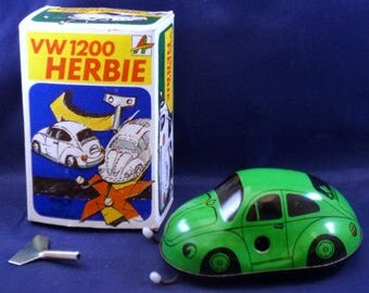 Vintage VW1200 Herbie Kovap Czech Republic Tin Wind Up Volkswagon Bug, 1980s