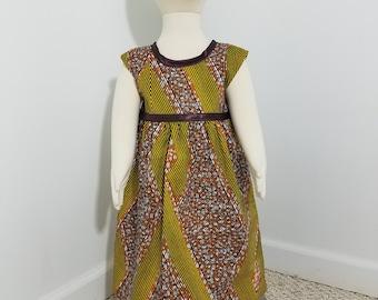 African Print girls' sundress with brown trim- burnt orange (size: 2T)