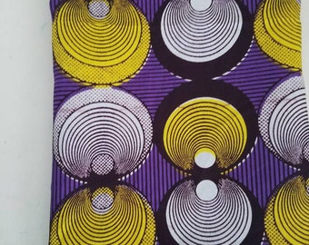 """African print 64""""x7.5"""" scarf- purple with circular pattern Custom order; reserved for customer"""