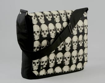 READY TO SHIP Skulls Large Black Canvas Messenger Bag, 13 - 15 Inch Laptop, Realistic Skulls, Tablet Phone Zipper Pockets, Ready To Ship
