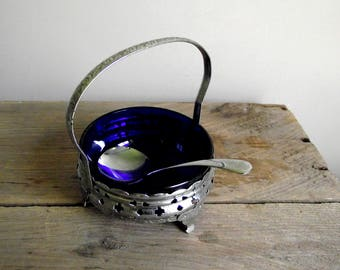 English Compote Dish with Spoon , Cobalt Glass Sugar Jam Bowl , Vintage Condiment Bowl, Silver Tone Metal Basket with Blue Glass Insert