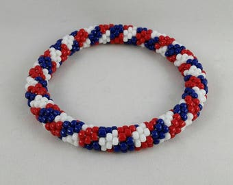 Red, White, and Blue Patchwork Bead Crochet Bangle - Ready to Ship