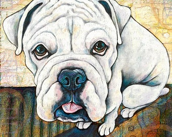 Heres to the Cat art print Dog Art Print Pet Art boxer Portrait Print