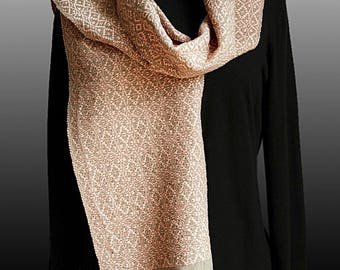 Sand and Tea Rose Handwoven Scarf
