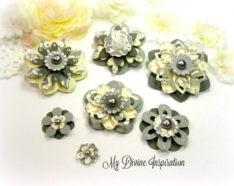 Basic Grey Little Black Dress Handmade Paper Embellishments and Paper Flowers for Scrapbook Layouts, Cards, Mini Albums and Paper crafts