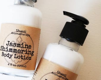Jasmine Shimmering Body Lotion - Shimering Mica All Natural Body Lotion 4oz - Gift for Women
