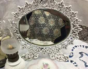 Iron Filigree Vanity or Dresser Mirror - easel back Gorgeous !