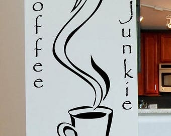 20% OFF Coffee Junkie Vinyl Lettering wall words quotes graphics decals Art Home decor itswritteninvinyl