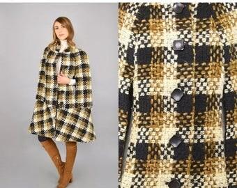 SUMMER SALE 60's Textured Wool Cape Coat