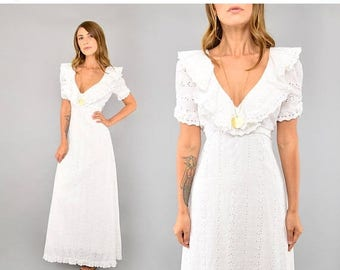 SUMMER SALE 70's White Eyelet Maxi Dress