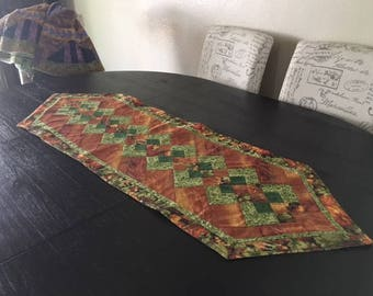 Quilted Fall Colors Table Runner /  Handmade  - C