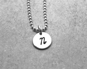 Initial Necklace, Sterling Silver, Letter N Necklace, All Letters Available, Hand Stamped Jewelry, Mother's Necklace, Gift for Her