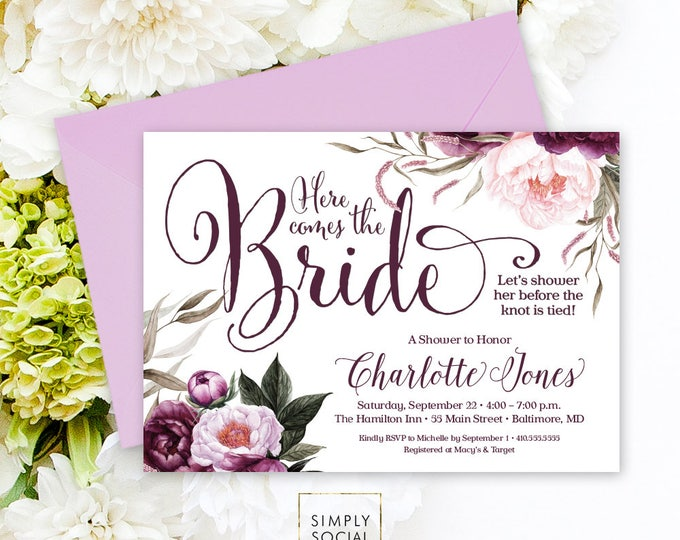 Purple Bridal Shower Invitation - Purple Floral Peonie Amethyst Watercolor Flowers Printable Invitation Here Comes the Bride