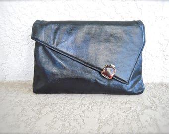 1960s Vintage Leather Black Clutch Asymmetrical Geometric Abstract Design 60s Women's Minimal Classic Handbag