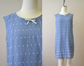 1960s Chambray and Eyelet Shift Dress