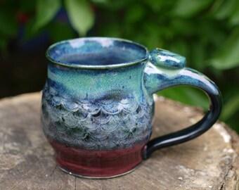 Hand Made Mug, Medieval Mug, Pottery Mug, Wheel thrown pottery mug, Rainbow Mug, Dragon Mug, Pottery Coffee Mug, Christmas gift, ceramic mug