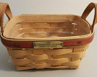 Longaberger 1993 HOLIDAY BASKET Of THANKS Basket Leather Strap Handles Protector