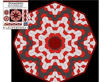 QUILT PATTERN / 52 page Instant Download / Kaleidoscope and Diamond Fun / Borders, Blocks, Quilts / Tubular Strip Piecing / Rita Hutchens