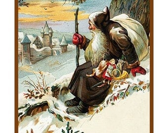 GREAT SALE Digital DOWNLOAD Vintage Naturalist Santa Claus with Rabbits Counted Cross Stitch Chart / Pattern