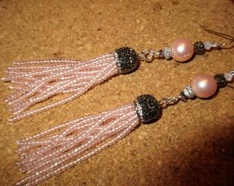 Scintillating Genuine Huge AAA PINK Freshwater PEARLS w/Hematite & Crystal Micro Pave Bead Cap, Beads, Ab 10 Pink Tassel Pierced Earrings