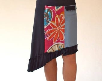 Short skirt recycled jersey and cotton skirt with Ruffles, asymmetry