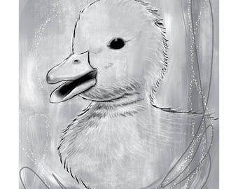 12x16 Nursery Print - Duck, Grey