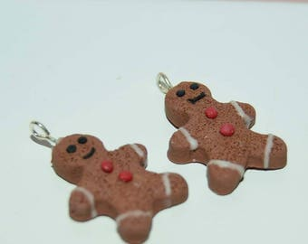 Gingerbread Man Cookie Earrings. Christmas Holiday Earrings. Polymer clay