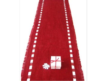 Red Burlap Table Runner with Satin Ribbon - Lush Color Table Topper  - Elegant Dining