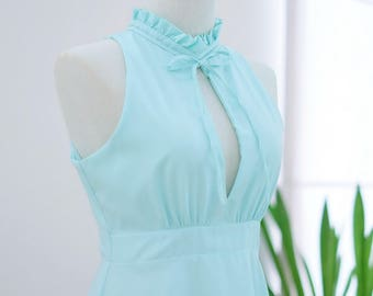 Nice women green dress Pale mint green dress mint dress cottage mint party dress green prom dress Ruffle neck dress Mint bridesmaid dresses