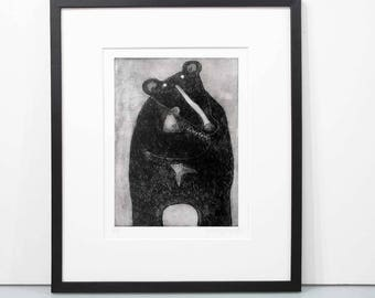 Good Catch - black bear print handprinted limited edition of 150 prints black bear etching art print bear art black bear art print unframed