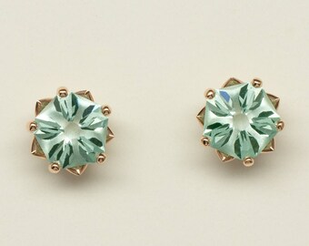 Hanami Earrings! Stylish handmade stud earrings in 14k rose gold with conflict free lab created aqua blue-green spinels!