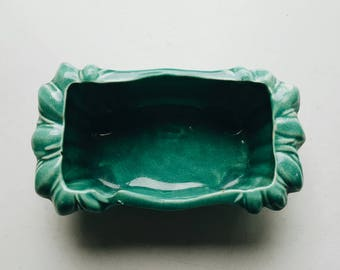 Turquoise Mid Century McCoy Rectangular Ceramic Planter - Modern Minimal Decor - Plant Container