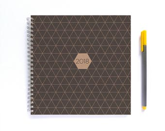 2018 Weekly Planner • LARGE 20cm/7.9in Square • Grey Geometric Pattern
