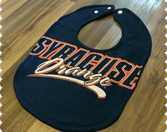 Syracuse Orange Recycled T-Shirt Baby Bib, Syracuse New York, Syracuse University, Sports Baby, Gender Neutral Baby Shower Gift