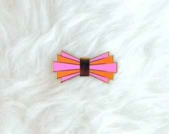 Deco Design Enamel Pin Bow Tie Brooch Pink Orange