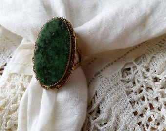 BEAUTIFUL Adjustable Gold Filled Ring w/ Green Stone VINTAGE