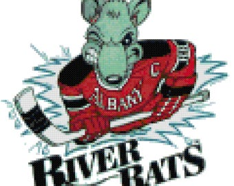 AHL Albany River Rats Logo Cross  Stitch Pattern