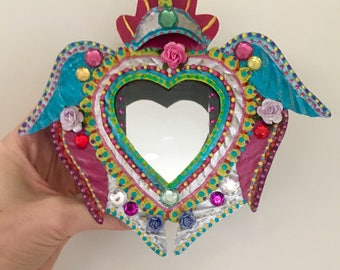 Mexican Sacred heart with wings and mirror tin nicho shadowbox shrine altar wall hanging
