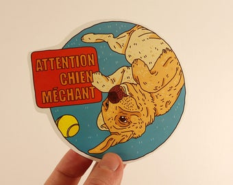 warning dog stickers labels tags illustration