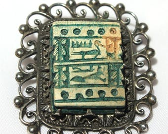 Faience Bead Egyptian Brooch, Egyptian Revival Hieroglyphics Silver Brooch